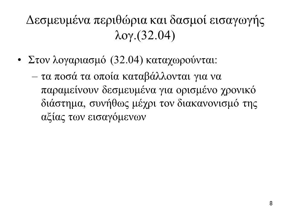 8 Δεσμευμένα περιθώρια και δασμοί εισαγωγής λογ.(32.04) Στον λογαριασμό (32.04) καταχωρούνται: –τα ποσά τα οποία καταβάλλονται για να παραμείνουν δεσμ