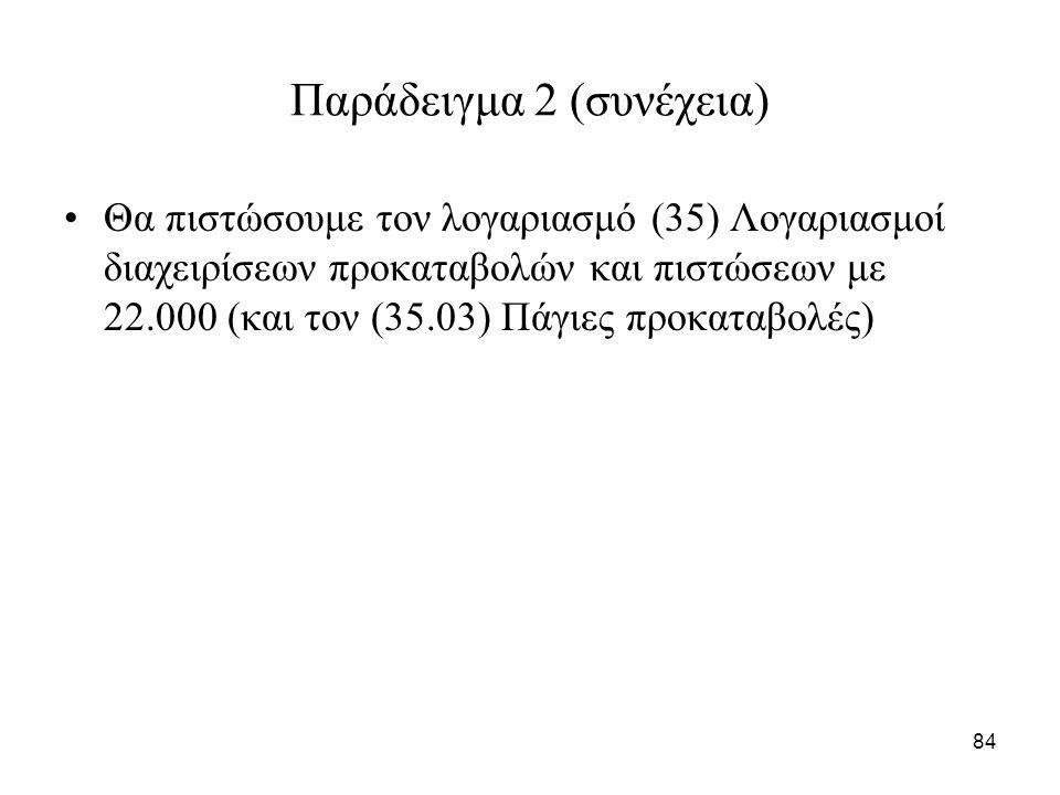 84 Παράδειγμα 2 (συνέχεια) Θα πιστώσουμε τον λογαριασμό (35) Λογαριασμοί διαχειρίσεων προκαταβολών και πιστώσεων με 22.000 (και τον (35.03) Πάγιες προ
