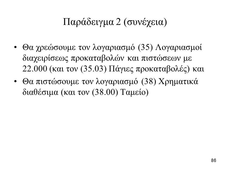 86 Παράδειγμα 2 (συνέχεια) Θα χρεώσουμε τον λογαριασμό (35) Λογαριασμοί διαχειρίσεως προκαταβολών και πιστώσεων με 22.000 (και τον (35.03) Πάγιες προκ