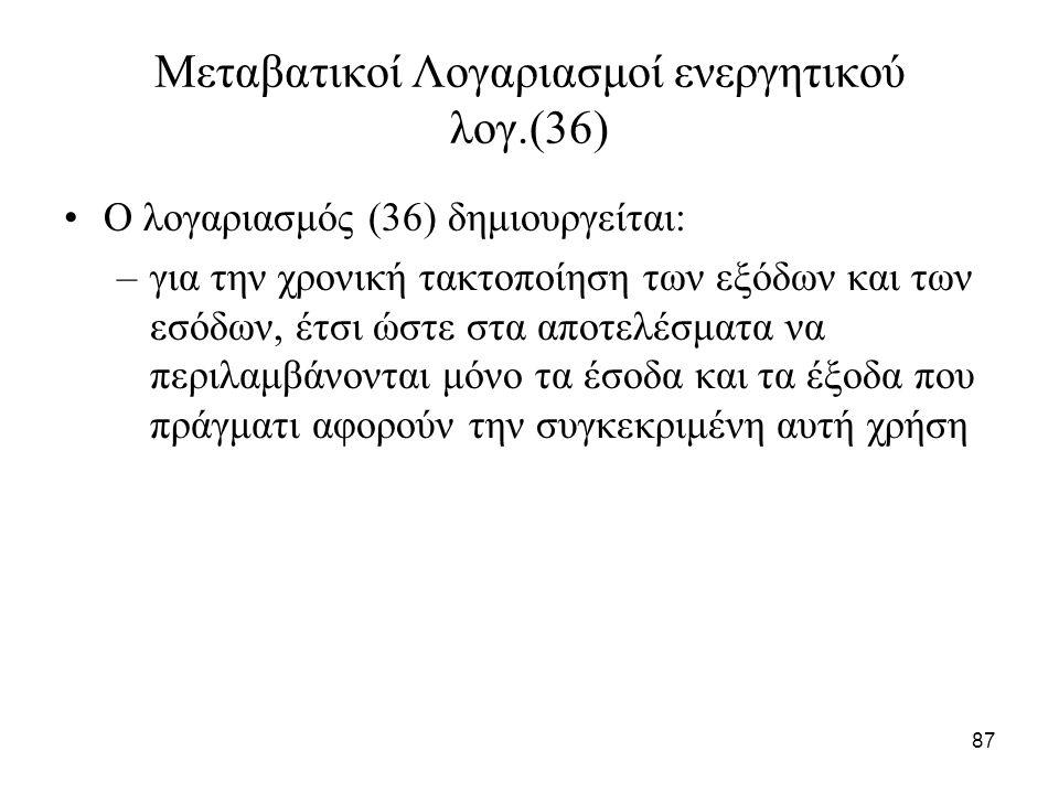 87 Μεταβατικοί Λογαριασμοί ενεργητικού λογ.(36) Ο λογαριασμός (36) δημιουργείται: –για την χρονική τακτοποίηση των εξόδων και των εσόδων, έτσι ώστε στ