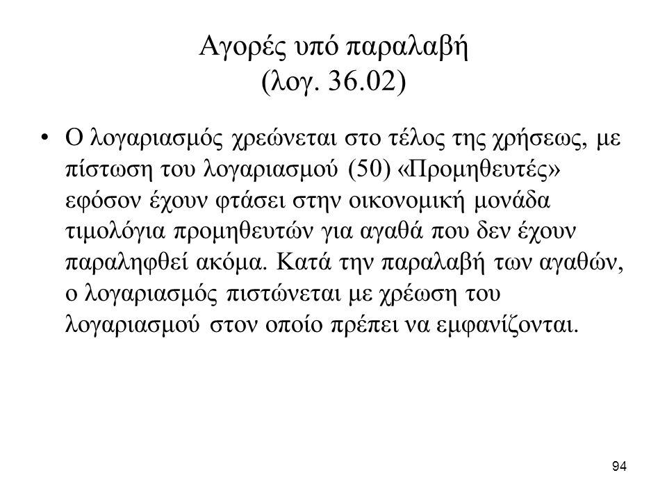 94 Αγορές υπό παραλαβή (λογ. 36.02) Ο λογαριασμός χρεώνεται στο τέλος της χρήσεως, με πίστωση του λογαριασμού (50) «Προμηθευτές» εφόσον έχουν φτάσει σ