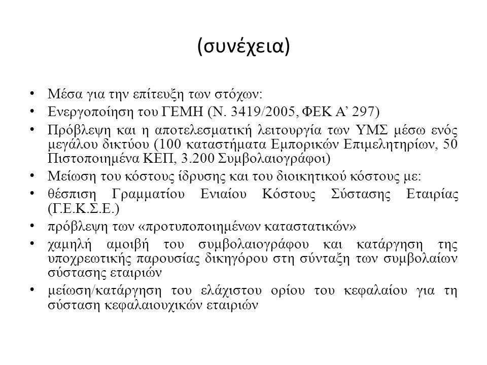 (συνέχεια) Μέσα για την επίτευξη των στόχων: Ενεργοποίηση του ΓΕΜΗ (Ν. 3419/2005, ΦΕΚ Α' 297) Πρόβλεψη και η αποτελεσματική λειτουργία των ΥΜΣ μέσω εν