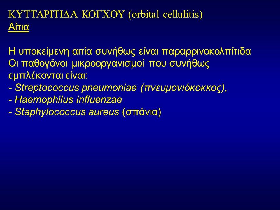ΚΥΤΤΑΡΙΤΙΔΑ ΚΟΓΧΟΥ (orbital cellulitis) Αίτια Η υποκείμενη αιτία συνήθως είναι παραρρινοκολπίτιδα Οι παθογόνοι μικροοργανισμοί που συνήθως εμπλέκονται είναι: - Streptococcus pneumoniae (πνευμονιόκοκκος), - Haemophilus influenzae - Staphylococcus aureus (σπάνια)