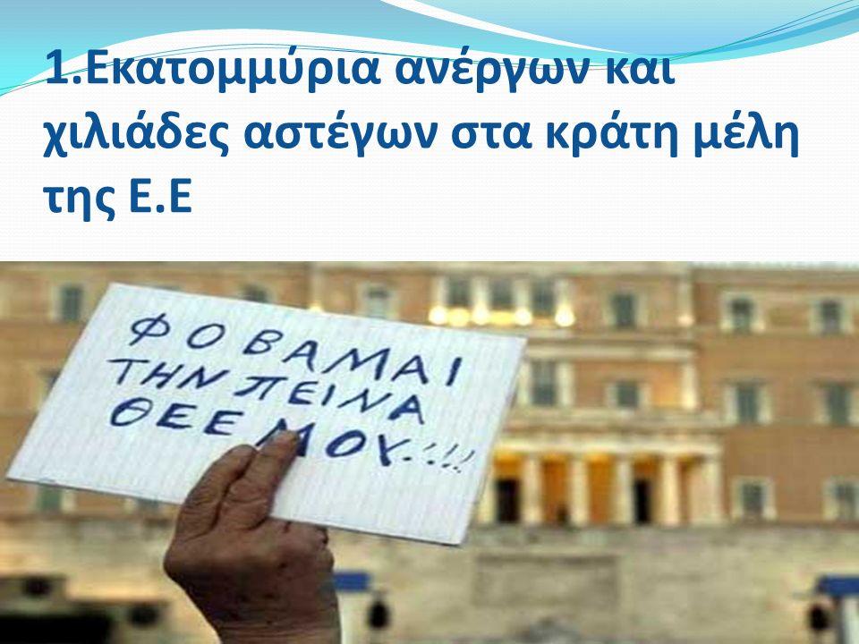 1.Εκατομμύρια ανέργων και χιλιάδες αστέγων στα κράτη μέλη της Ε.Ε