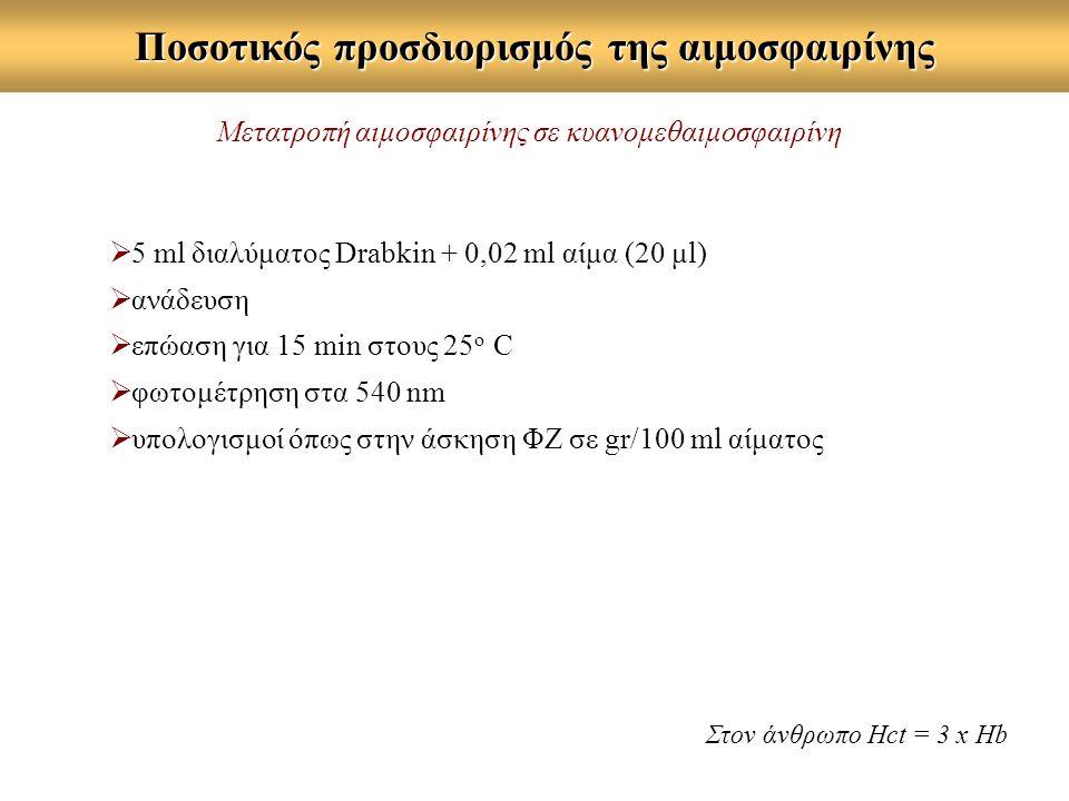 Ποσοτικός προσδιορισμός της αιμοσφαιρίνης  5 ml διαλύματος Drabkin + 0,02 ml αίμα (20 μl)  ανάδευση  επώαση για 15 min στους 25 ο C  φωτομέτρηση στα 540 nm  υπολογισμοί όπως στην άσκηση ΦΖ σε gr/100 ml αίματος Μετατροπή αιμοσφαιρίνης σε κυανομεθαιμοσφαιρίνη Στον άνθρωπο Hct = 3 x Ηb