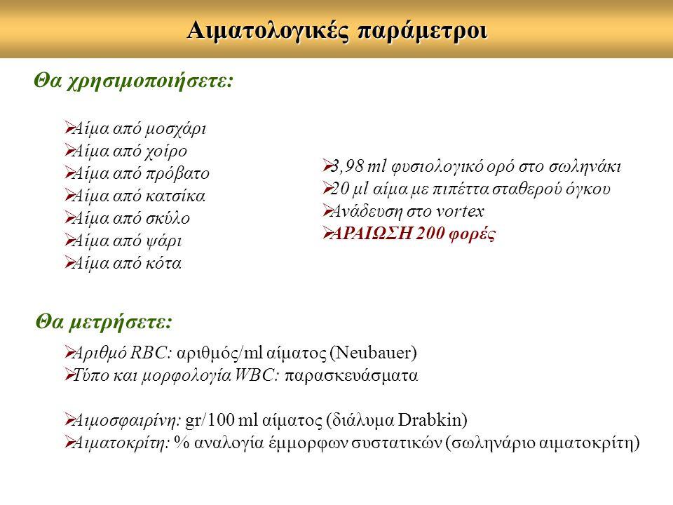 Αιματολογικές παράμετροι  Αριθμό RBC: αριθμός/ml αίματος (Neubauer)  Τύπο και μορφολογία WBC: παρασκευάσματα  Αιμοσφαιρίνη: gr/100 ml αίματος (διάλυμα Drabkin)  Αιματοκρίτη: % αναλογία έμμορφων συστατικών (σωληνάριο αιματοκρίτη) Θα μετρήσετε: Θα χρησιμοποιήσετε:  Αίμα από μοσχάρι  Αίμα από χοίρο  Αίμα από πρόβατο  Αίμα από κατσίκα  Αίμα από σκύλο  Αίμα από ψάρι  Αίμα από κότα  3,98 ml φυσιολογικό ορό στο σωληνάκι  20 μl αίμα με πιπέττα σταθερού όγκου  Ανάδευση στο vortex  ΑΡΑΙΩΣΗ 200 φορές