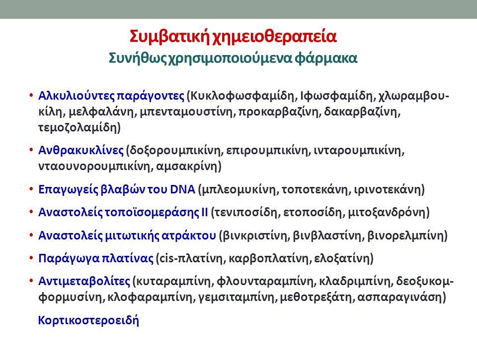 Συμβατική χημειοθεραπεία Συνήθως χρησιμοποιούμενα φάρμακα Αλκυλιούντες παράγοντες (Κυκλοφωσφαμίδη, Ιφωσφαμίδη, χλωραμβου- κίλη, μελφαλάνη, μπενταμουστίνη, προκαρβαζίνη, δακαρβαζίνη, τεμοζολαμίδη) Ανθρακυκλίνες (δοξορουμπικίνη, επιρουμπικίνη, ινταρουμπικίνη, νταουνορουμπικίνη, αμσακρίνη) Επαγωγείς βλαβών του DNA (μπλεομυκίνη, τοποτεκάνη, ιρινοτεκάνη) Αναστολείς τοποϊσομεράσης ΙΙ (τενιποσίδη, ετοποσίδη, μιτοξανδρόνη) Αναστολείς μιτωτικής ατράκτου (βινκριστίνη, βινβλαστίνη, βινορελμπίνη) Παράγωγα πλατίνας (cis-πλατίνη, καρβοπλατίνη, ελοξατίνη) Αντιμεταβολίτες (κυταραμπίνη, φλουνταραμπίνη, κλαδριμπίνη, δεοξυκομ- φορμυσίνη, κλοφαραμπίνη, γεμσιταμπίνη, μεθοτρεξάτη, ασπαραγινάση) Κορτικοστεροειδή