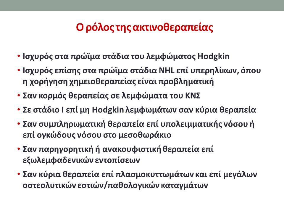 Ο ρόλος της ακτινοθεραπείας Ισχυρός στα πρώϊμα στάδια του λεμφώματος Hodgkin Ισχυρός επίσης στα πρώϊμα στάδια NHL επί υπερηλίκων, όπου η χορήγηση χημε