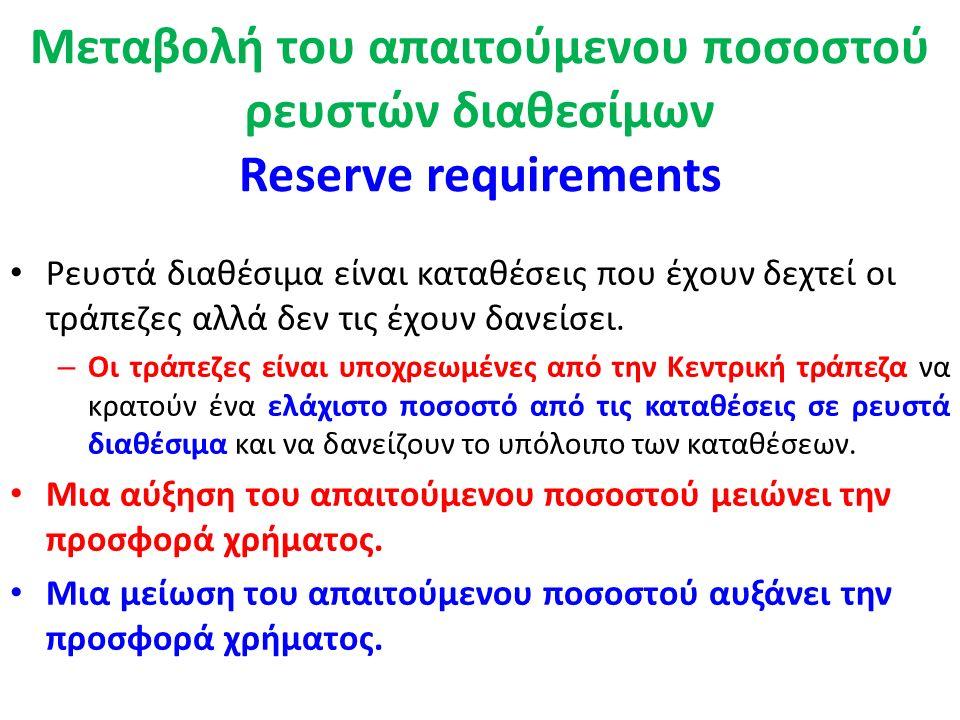 Η Κεντρική Τράπεζα Τα τρία βασικά εργαλεία νομισματικού ελέγχου είναι (προσφορά χρήματος): 1.Παρεμβάσεις στην ανοικτή αγορά - Open market operation 2.Μεταβολή του απαιτούμενου ποσοστού ρευστών διαθεσίμων 3.Μεταβολή του προεξοφλητικού επιτοκίου.