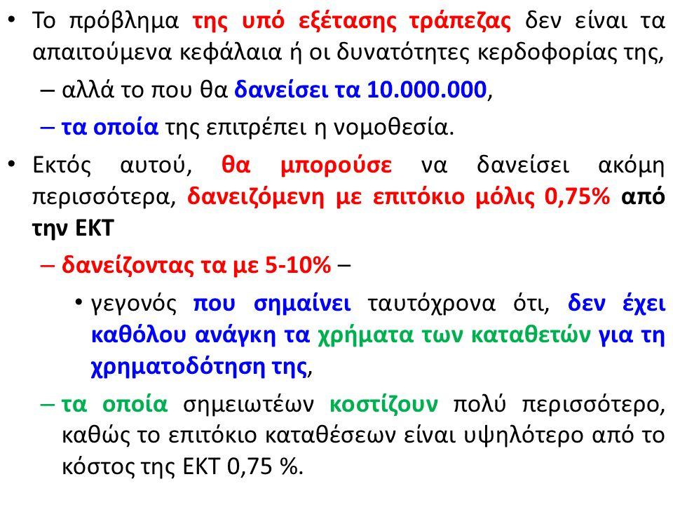 Εάν τηρηθούν οι παραπάνω κανόνες περί ελάχιστων αποθεματικών κεφαλαίων, η τράπεζα του παραδείγματος μας μπορεί να δανείσει 10.000.000 € με επιτόκιο, για παράδειγμα, ύψους 5% δεν περιλαμβάνονται οι τράπεζες και τα προθεσμιακά – χωρίς να χρειαστεί να δανειστεί η ίδια από κανέναν Εισπράττει 500.000 € ετησίως, έχοντας δικά της χρήματα μόλις 100.000 € – το επιτόκιο επί των δικών της χρημάτων είναι 500%.