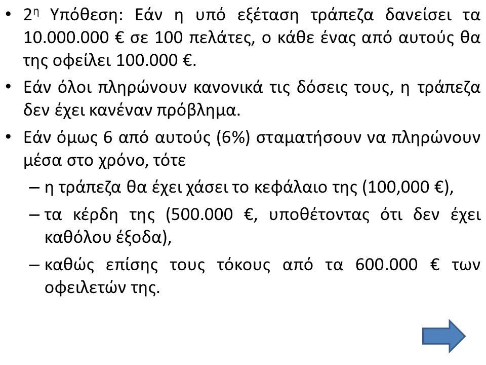 Το πρόβλημα της υπό εξέτασης τράπεζας δεν είναι τα απαιτούμενα κεφάλαια ή οι δυνατότητες κερδοφορίας της, – αλλά το που θα δανείσει τα 10.000.000, – τα οποία της επιτρέπει η νομοθεσία.