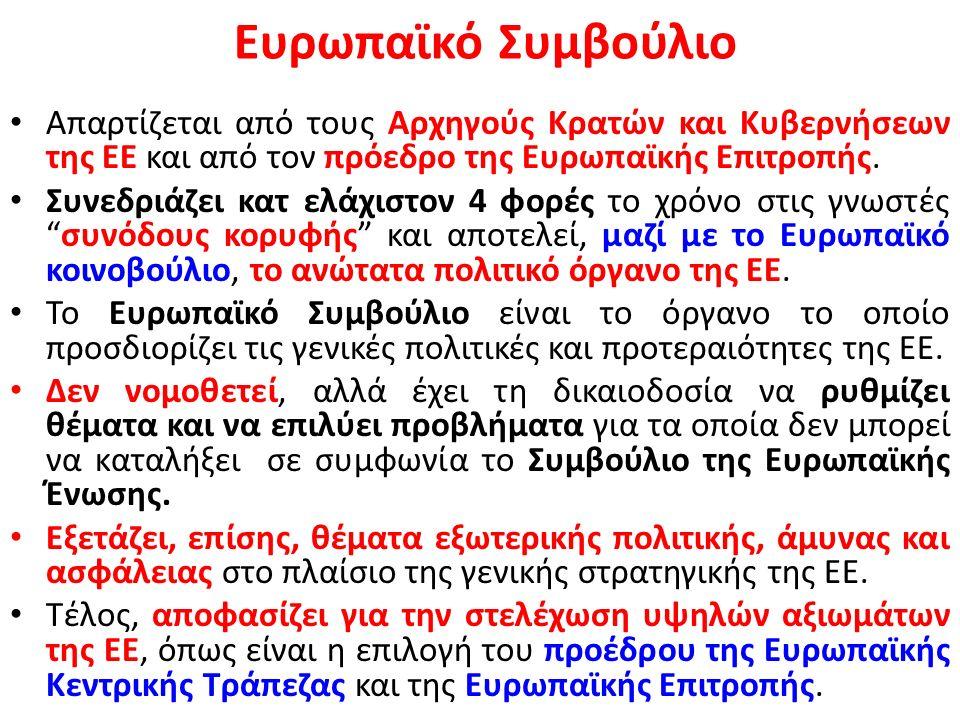 Το Συμβούλιο της Ευρωπαϊκής Ένωσης λαμβάνει εννέα διαφορετικές συνθέσεις με κριτήριο τα ζητήματα που εξετάζονται: – Γενικών Υποθέσεων (ΣΓΥ) – Εξωτερικών Υποθέσεων (ΣΕΥ) – Οικονομικών και Δημοσιονομικών Θεμάτων (ECOFIN) – Γεωργίας και Αλιείας (Agrifish) – Δικαιοσύνης και Εσωτερικών Υποθέσεων (ΔΕΥ) – Απασχόλησης, Κοινωνικής Πολιτικής, Υγείας και Καταναλωτών (ΑΚΠΥΚ) – Ανταγωνιστικότητας – Μεταφορών, Τηλεπικοινωνιών και Ενέργειας (ΜΤΕ) – Περιβάλλοντος (ENVI) – Παιδείας, Νεολαίας, Πολιτισμού και Αθλητισμού (EYC)