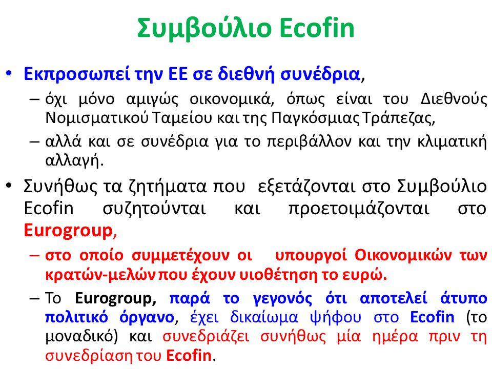 Συμβούλιο Ecofin ή αλλιώς Συμβούλιο Οικονομικών και Δημοσιονομικών Υποθέσεων Αποτελεί υποεπιτροπή του Συμβουλίου της Ευρωπαϊκής Ένωσης (Συμβουλίου των Υπουργών), Ασκεί την οικονομική και φορολογική πολιτική της ΕΕ.