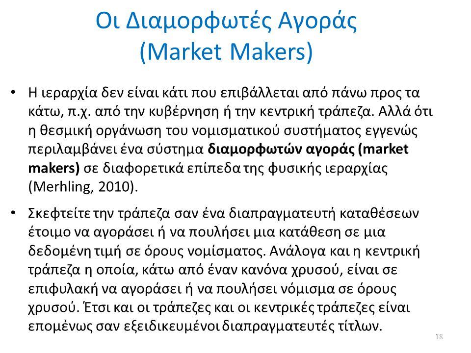 Οι Διαμορφωτές Αγοράς (Market Makers) H ιεραρχία δεν είναι κάτι που επιβάλλεται από πάνω προς τα κάτω, π.χ. από την κυβέρνηση ή την κεντρική τράπεζα.