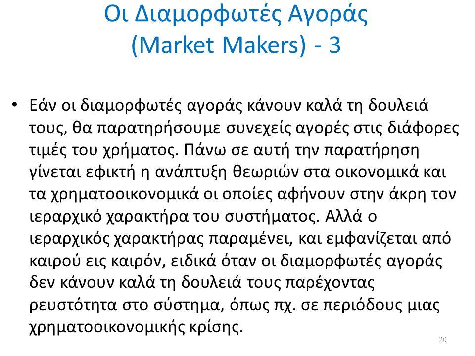 Οι Διαμορφωτές Αγοράς (Market Makers) - 3 Εάν οι διαμορφωτές αγοράς κάνουν καλά τη δουλειά τους, θα παρατηρήσουμε συνεχείς αγορές στις διάφορες τιμές του χρήματος.