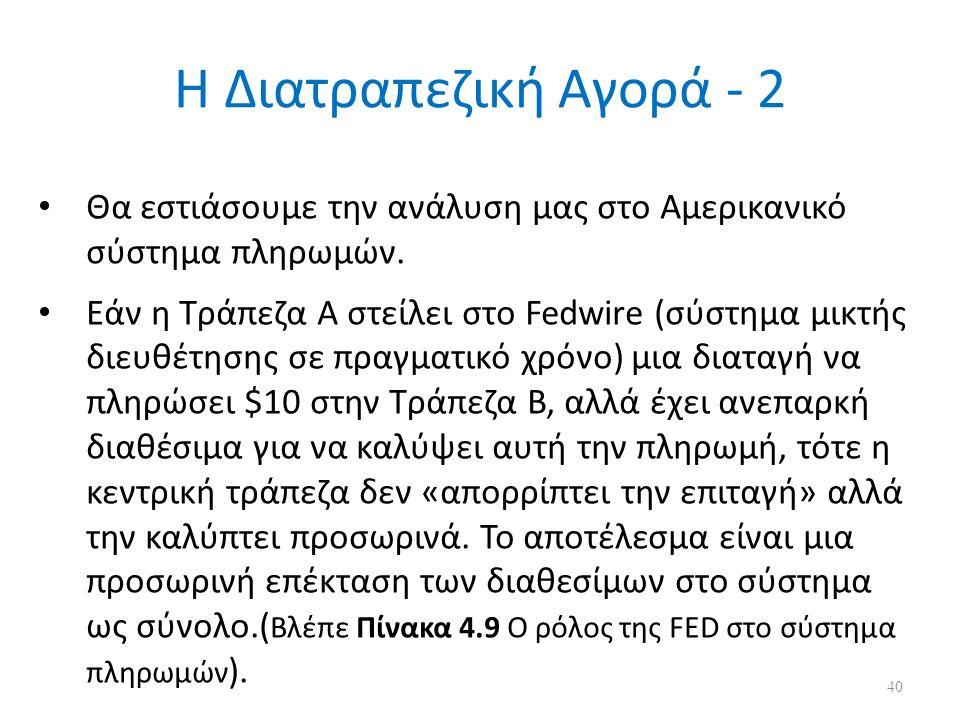 Η Διατραπεζική Αγορά - 2 Θα εστιάσουμε την ανάλυση μας στο Αμερικανικό σύστημα πληρωμών. Εάν η Τράπεζα Α στείλει στο Fedwire (σύστημα μικτής διευθέτησ