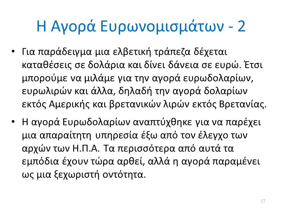 Η Αγορά Ευρωνομισμάτων - 2 Για παράδειγμα μια ελβετική τράπεζα δέχεται καταθέσεις σε δολάρια και δίνει δάνεια σε ευρώ. Έτσι μπορούμε να μιλάμε για την