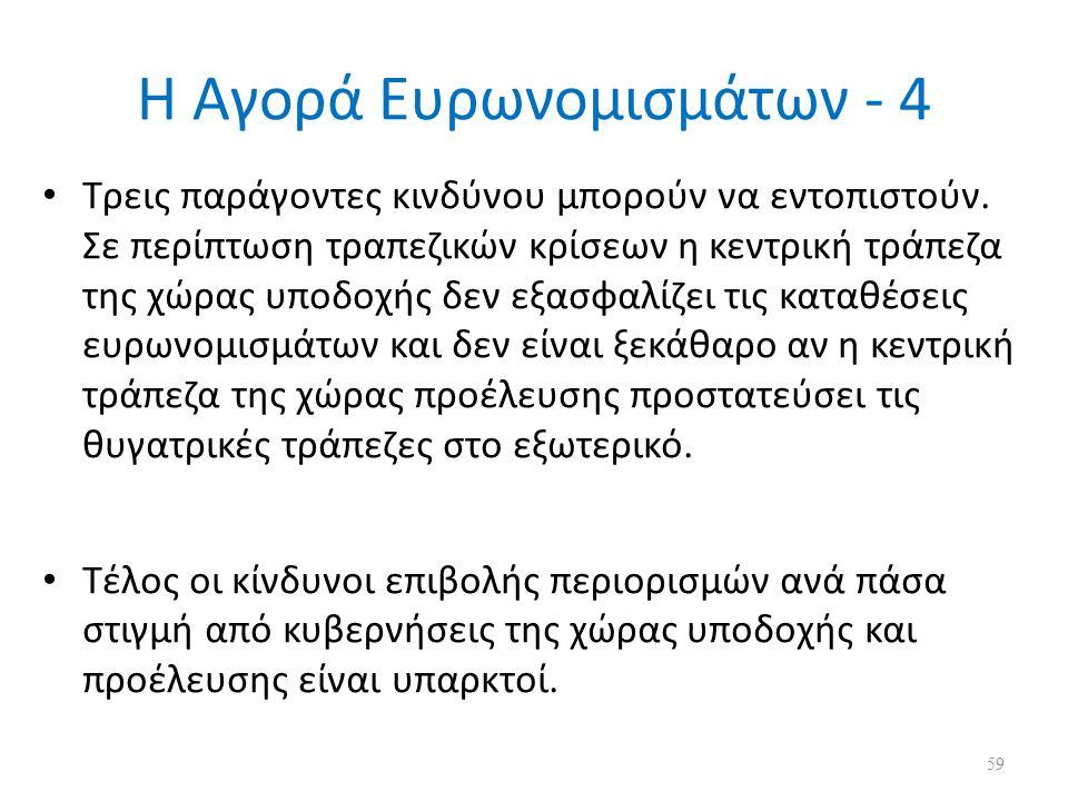Η Αγορά Ευρωνομισμάτων - 4 Τρεις παράγοντες κινδύνου μπορούν να εντοπιστούν.