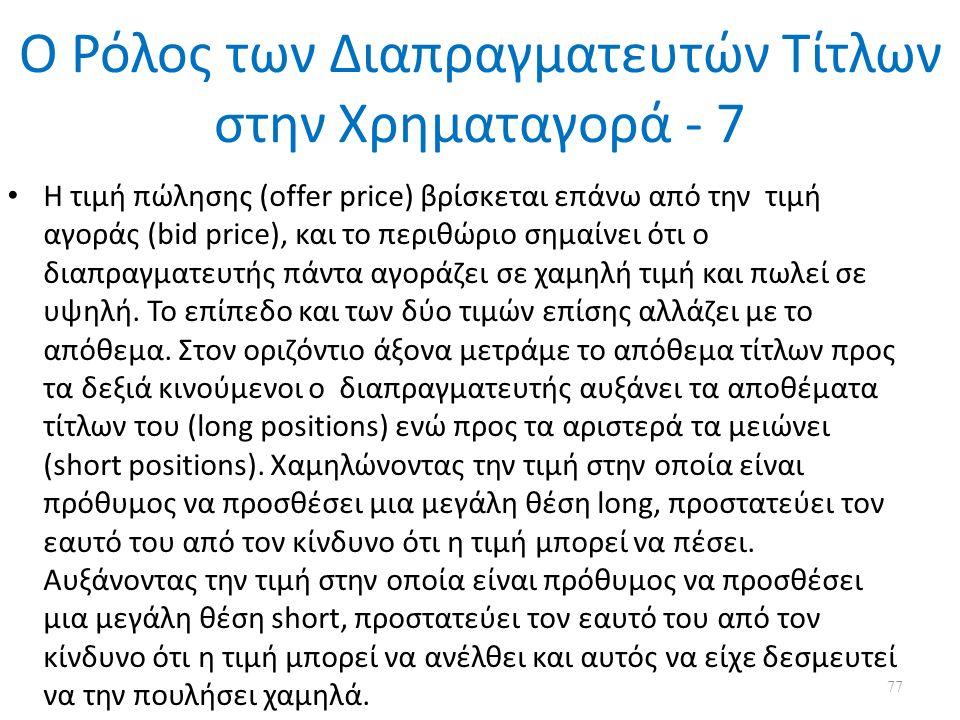 Ο Ρόλος των Διαπραγματευτών Τίτλων στην Χρηματαγορά - 7 Η τιμή πώλησης (offer price) βρίσκεται επάνω από την τιμή αγοράς (bid price), και το περιθώριο σημαίνει ότι ο διαπραγματευτής πάντα αγοράζει σε χαμηλή τιμή και πωλεί σε υψηλή.