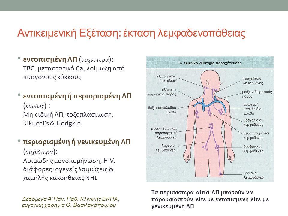 Αντικειμενική Εξέταση: έκταση λεμφαδενοπάθειας εντοπισμένη ΛΠ ( συχνότερα ): TBC, μεταστατικό Ca, λοίμωξη από πυογόνους κόκκους εντοπισμένη ή περιορισμένη ΛΠ ( κυρίως ) : Μη ειδική ΛΠ, τοξοπλάσμωση, Kikuchi's & Hodgkin περιορισμένη ή γενικευμένη ΛΠ ( συχνότερα ): Λοιμώδης μονοπυρήνωση, HIV, διάφορες ιογενείς λοιμώξεις & χαμηλής κακοηθείας NHL Τα περισσότερα αίτια ΛΠ μπορούν να παρουσιαστούν είτε με εντοπισμένη είτε με γενικευμένη ΛΠ Δεδομένα Α' Παν.