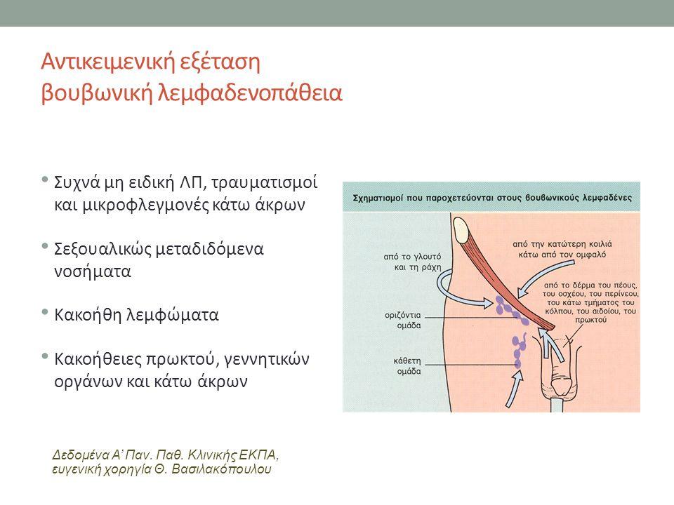 Αντικειμενική εξέταση βουβωνική λεμφαδενοπάθεια Συχνά μη ειδική ΛΠ, τραυματισμοί και μικροφλεγμονές κάτω άκρων Σεξουαλικώς μεταδιδόμενα νοσήματα Κακοήθη λεμφώματα Κακοήθειες πρωκτού, γεννητικών οργάνων και κάτω άκρων Δεδομένα Α' Παν.