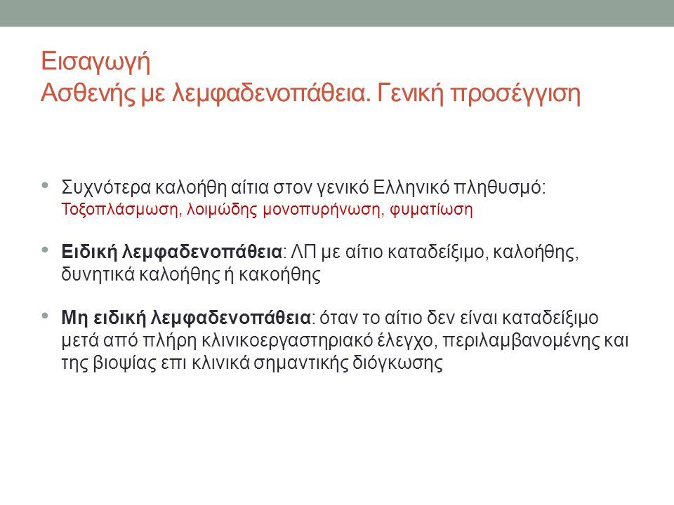 Συχνότερα καλοήθη αίτια στον γενικό Ελληνικό πληθυσμό: Τοξοπλάσμωση, λοιμώδης μονοπυρήνωση, φυματίωση Ειδική λεμφαδενοπάθεια: ΛΠ με αίτιο καταδείξιμο, καλοήθης, δυνητικά καλοήθης ή κακοήθης Μη ειδική λεμφαδενοπάθεια: όταν το αίτιο δεν είναι καταδείξιμο μετά από πλήρη κλινικοεργαστηριακό έλεγχο, περιλαμβανομένης και της βιοψίας επι κλινικά σημαντικής διόγκωσης Εισαγωγή Ασθενής με λεμφαδενοπάθεια.