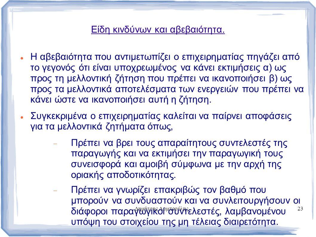 Δημήτρης Λαμπρούλης23 Είδη κινδύνων και αβεβαιότητα.