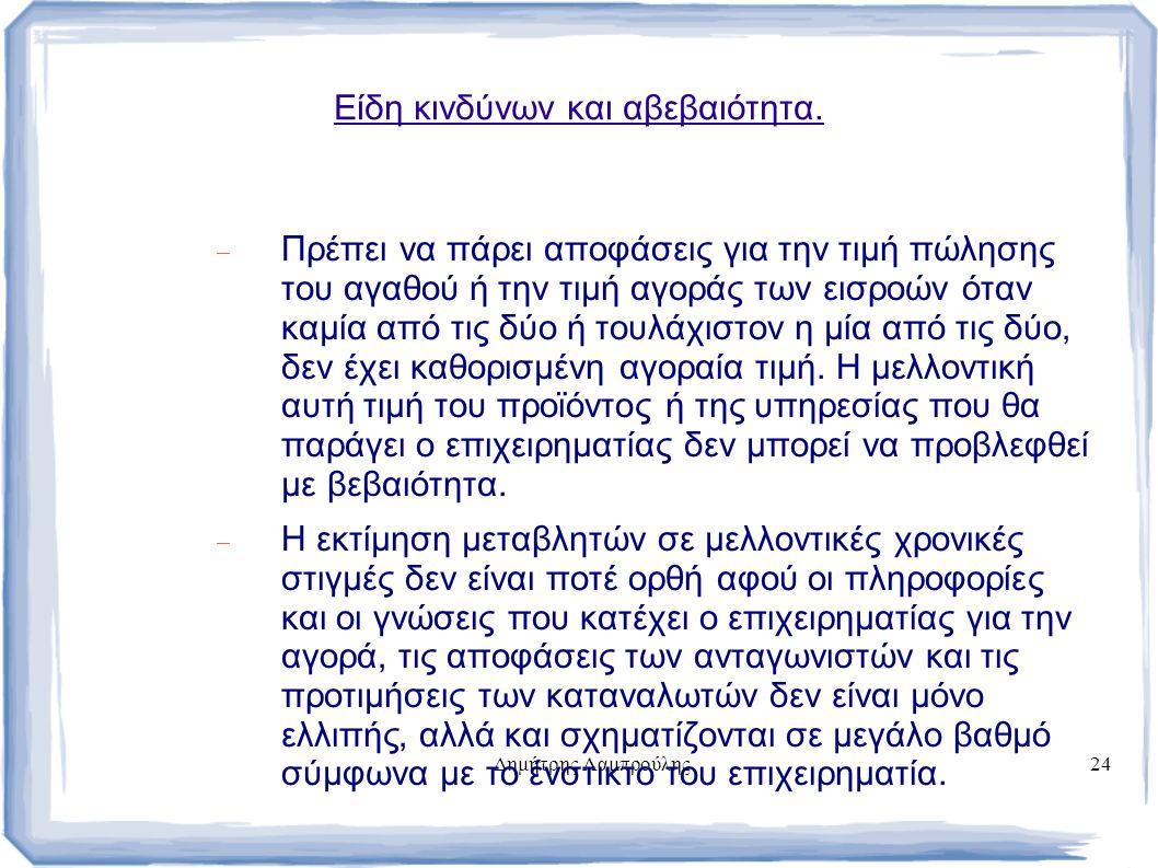 Δημήτρης Λαμπρούλης24 Είδη κινδύνων και αβεβαιότητα.