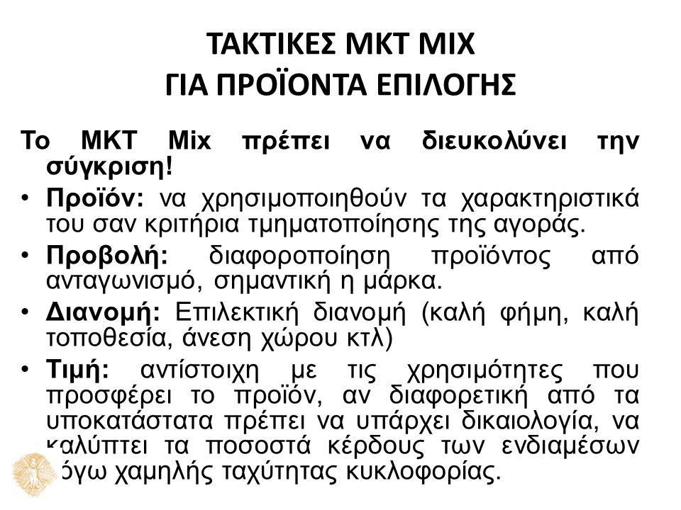 ΤΑΚΤΙΚΕΣ ΜΚΤ MIX ΓΙΑ ΠΡΟΪΟΝΤΑ ΕΠΙΛΟΓΗΣ Το ΜΚΤ Mix πρέπει να διευκολύνει την σύγκριση.