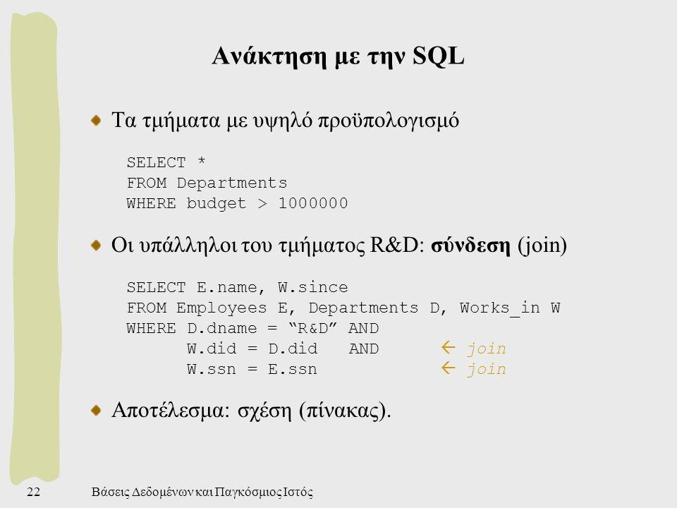 Βάσεις Δεδομένων και Παγκόσμιος Ιστός22 Ανάκτηση με την SQL Τα τμήματα με υψηλό προϋπολογισμό SELECT * FROM Departments WHERE budget > 1000000 Οι υπάλληλοι του τμήματος R&D: σύνδεση (join) SELECT E.name, W.since FROM Employees E, Departments D, Works_in W WHERE D.dname = R&D AND W.did = D.did AND  join W.ssn = E.ssn  join Αποτέλεσμα: σχέση (πίνακας).