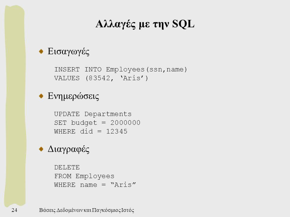 Βάσεις Δεδομένων και Παγκόσμιος Ιστός24 Αλλαγές με την SQL Εισαγωγές INSERT INTO Employees(ssn,name) VALUES (83542, 'Aris') Ενημερώσεις UPDATE Departments SET budget = 2000000 WHERE did = 12345 Διαγραφές DELETE FROM Employees WHERE name = Aris