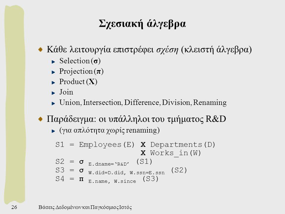 Βάσεις Δεδομένων και Παγκόσμιος Ιστός26 Σχεσιακή άλγεβρα Κάθε λειτουργία επιστρέφει σχέση (κλειστή άλγεβρα) Selection (σ) Projection (π) Product (Χ) Join Union, Intersection, Difference, Division, Renaming Παράδειγμα: οι υπάλληλοι του τμήματος R&D (για απλότητα χωρίς renaming) S1 = Employees(E) X Departments(D) X Works_in(W) S2 = σ E.dname='R&D' (S1) S3 = σ W.did=D.did, W.ssn=E.ssn (S2) S4 = π E.name, W.since (S3)
