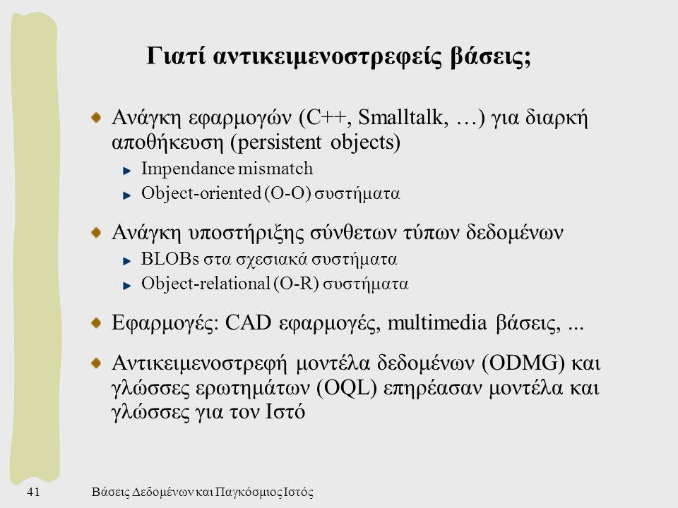 Βάσεις Δεδομένων και Παγκόσμιος Ιστός41 Γιατί αντικειμενοστρεφείς βάσεις; Ανάγκη εφαρμογών (C++, Smalltalk, …) για διαρκή αποθήκευση (persistent objects) Impendance mismatch Object-oriented (O-O) συστήματα Ανάγκη υποστήριξης σύνθετων τύπων δεδομένων BLOBs στα σχεσιακά συστήματα Object-relational (O-R) συστήματα Εφαρμογές: CAD εφαρμογές, multimedia βάσεις,...