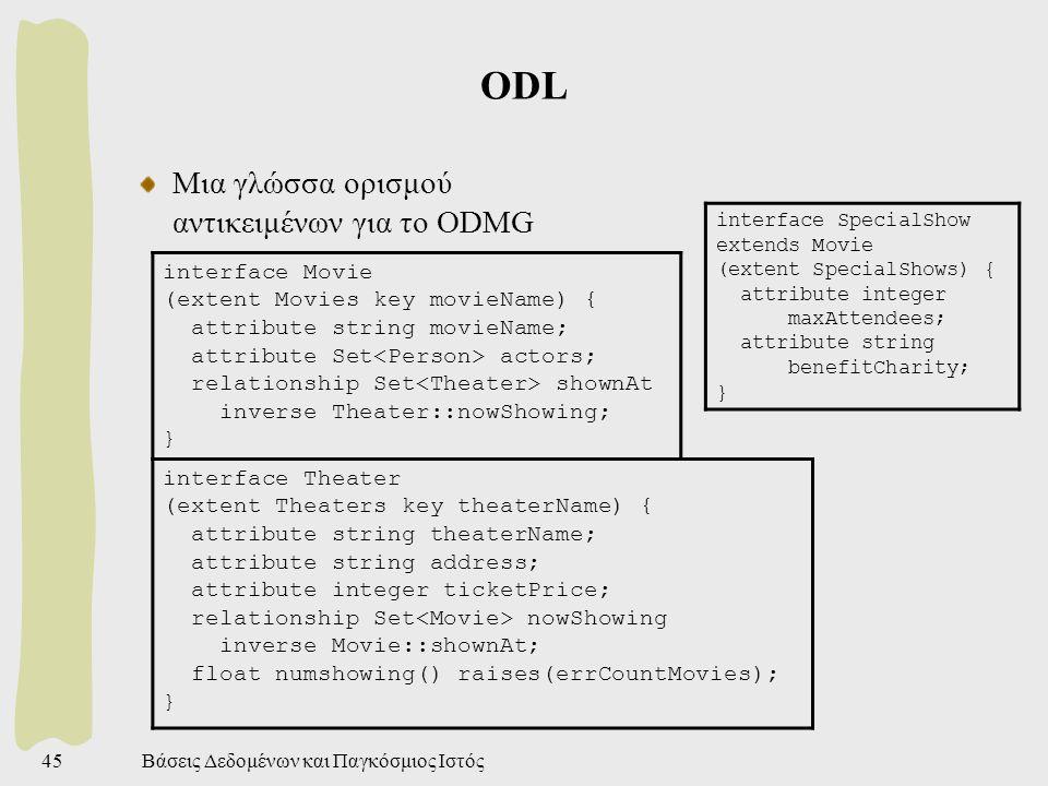 Βάσεις Δεδομένων και Παγκόσμιος Ιστός45 ODL Μια γλώσσα ορισμού αντικειμένων για το ODMG interface Movie (extent Movies key movieName) { attribute stri