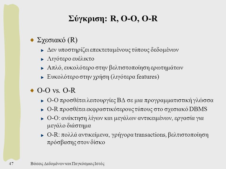 Βάσεις Δεδομένων και Παγκόσμιος Ιστός47 Σύγκριση: R, O-O, O-R Σχεσιακό (R) Δεν υποστηρίζει επεκτεταμένους τύπους δεδομένων Λιγότερο ευέλικτο Απλό, ευκολότερο στην βελτιστοποίηση ερωτημάτων Ευκολότερο στην χρήση (λιγότερα features) O-O vs.