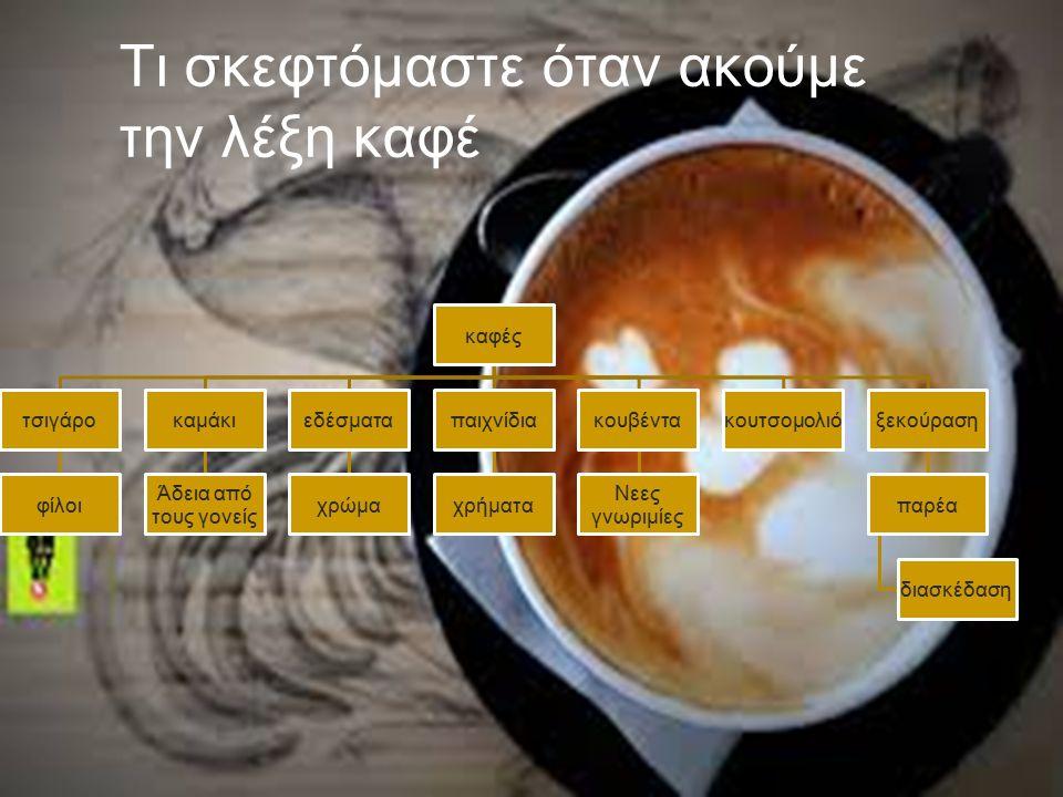 Τι σκεφτόμαστε όταν ακούμε την λέξη καφέ καφές τσιγάρο φίλοι καμάκι Άδεια από τους γονείς εδέσματα χρώμα παιχνίδια χρήματα κουβέντα Νεες γνωριμίες κουτσομολιόξεκούραση παρέα διασκέδαση