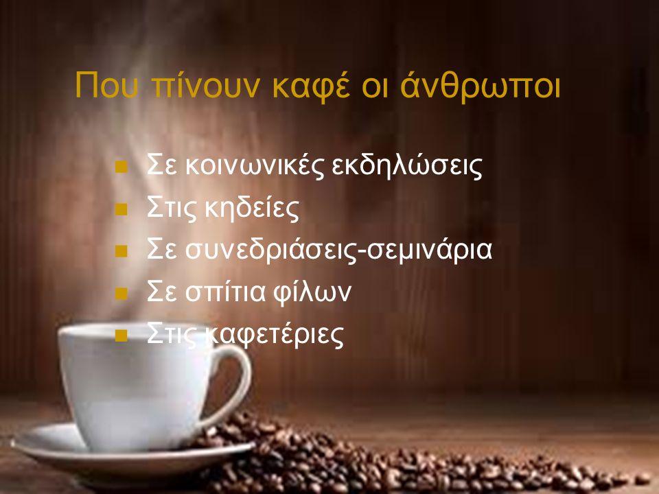 Που πίνουν καφέ οι άνθρωποι Σε κοινωνικές εκδηλώσεις Στις κηδείες Σε συνεδριάσεις-σεμινάρια Σε σπίτια φίλων Στις καφετέριες