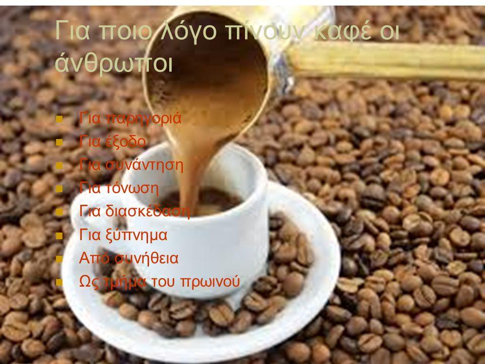Για ποιο λόγο πίνουν καφέ οι άνθρωποι Για παρηγοριά Για έξοδο Για συνάντηση Για τόνωση Για διασκέδαση Για ξύπνημα Από συνήθεια Ως τμήμα του πρωινού