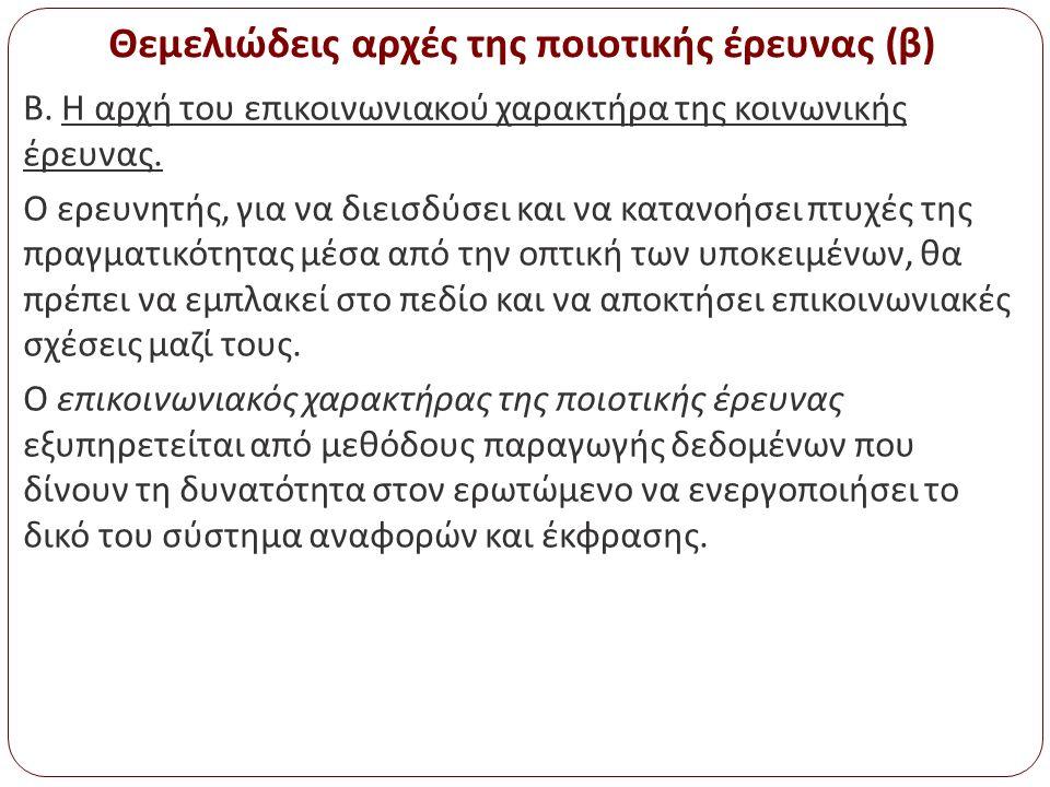 Θεμελιώδεις αρχές της ποιοτικής έρευνας (β) Β. Η αρχή του επικοινωνιακού χαρακτήρα της κοινωνικής έρευνας. Ο ερευνητής, για να διεισδύσει και να καταν