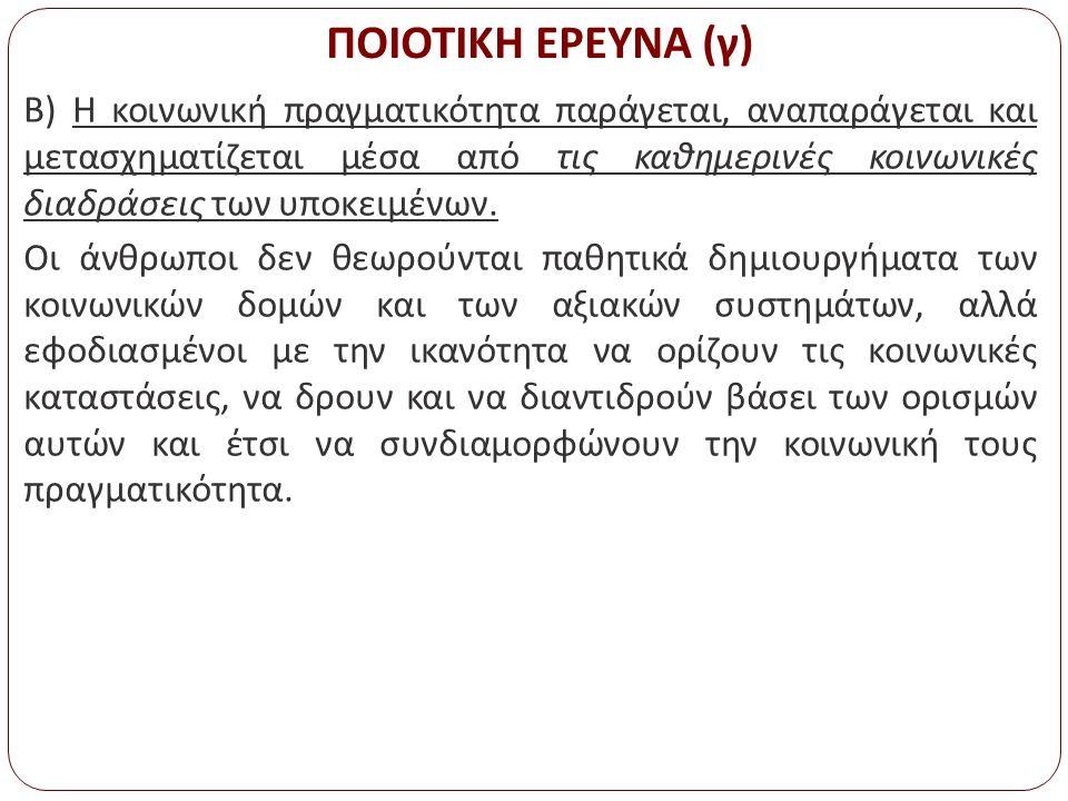 Λειτουργικοί ορισμοί ποιοτικής έρευνας (δ) Δ.