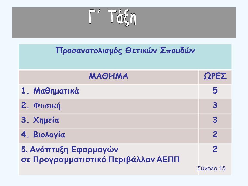 Προσανατολισμός Θετικών Σπουδών ΜΑΘΗΜΑΩΡΕΣ 1. Μαθηματικά5 2.