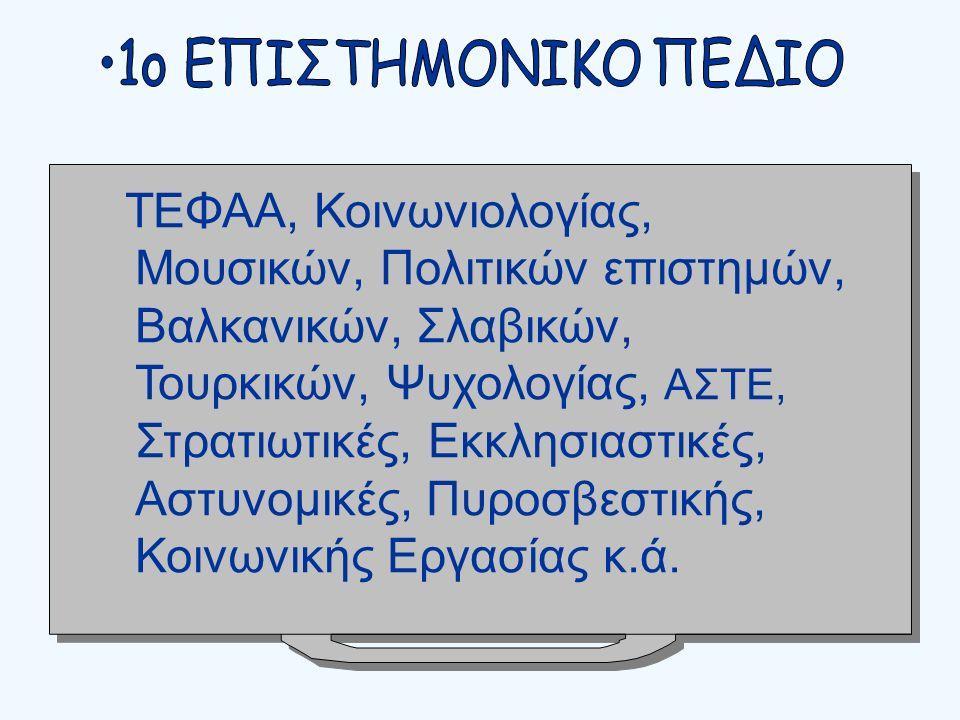 ΤΕΦΑΑ, Κοινωνιολογίας, Μουσικών, Πολιτικών επιστημών, Βαλκανικών, Σλαβικών, Τουρκικών, Ψυχολογίας, ΑΣΤΕ, Στρατιωτικές, Εκκλησιαστικές, Αστυνομικές, Πυροσβεστικής, Κοινωνικής Εργασίας κ.ά.