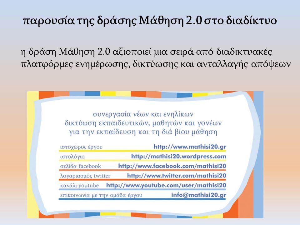 επικοινωνία και διάδραση σας προσκαλούμε να επικοινωνήσετε μαζί μας μέσω email (info@mathisi20.gr) και facebook (facebook.com/mathisi20) προκειμένουinfo@mathisi20.grfacebook.com/mathisi20 να μας δώσετε τα σχόλια και τις απόψεις σας για τις ομιλίες και το σχεδιασμό της σημερινής ημερίδας να συνδιαμορφωθεί η τελική έκδοση του κειμένου «μελέτη και καταγραφή της σημερινής κατάστασης στον διαδικτυακό διάλογο για την εκπαίδευση και τη μάθηση 2.0» με τις δικές σας γνώμες