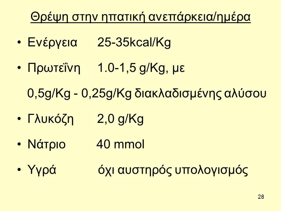 28 Θρέψη στην ηπατική ανεπάρκεια/ημέρα Ενέργεια 25-35kcal/Kg Πρωτεΐνη 1.0-1,5 g/Kg, με 0,5g/Kg - 0,25g/Kg διακλαδισμένης αλύσου Γλυκόζη 2,0 g/Kg Νάτριο 40 mmol Υγρά όχι αυστηρός υπολογισμός