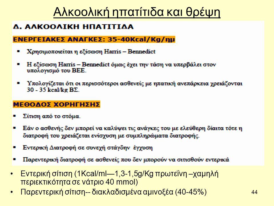44 Αλκοολική ηπατίτιδα και θρέψη Εντερική σίτιση (1Kcal/ml—1,3-1,5g/Kg πρωτεΐνη –χαμηλή περιεκτικότητα σε νάτριο 40 mmol) Παρεντερική σίτιση-- διακλαδισμένα αμινοξέα (40-45%)