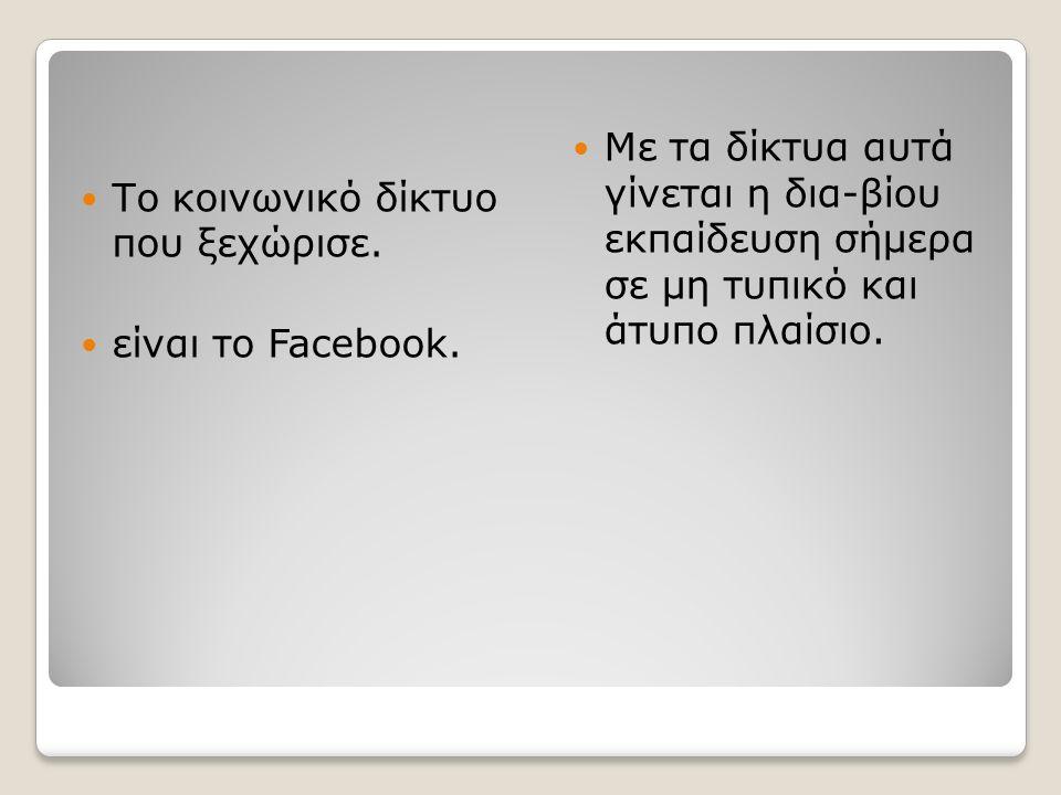 Το κοινωνικό δίκτυο που ξεχώρισε. είναι το Facebook.