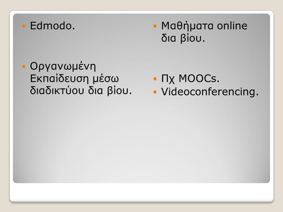 Edmodo. Οργανωμένη Εκπαίδευση μέσω διαδικτύου δια βίου.