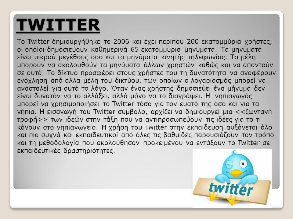 TWITTER Το Twitter δημιουργήθηκε το 2006 και έχει περίπου 200 εκατομμύρια χρήστες, οι οποίοι δημοσιεύουν καθημερινά 65 εκατομμύρια μηνύματα.