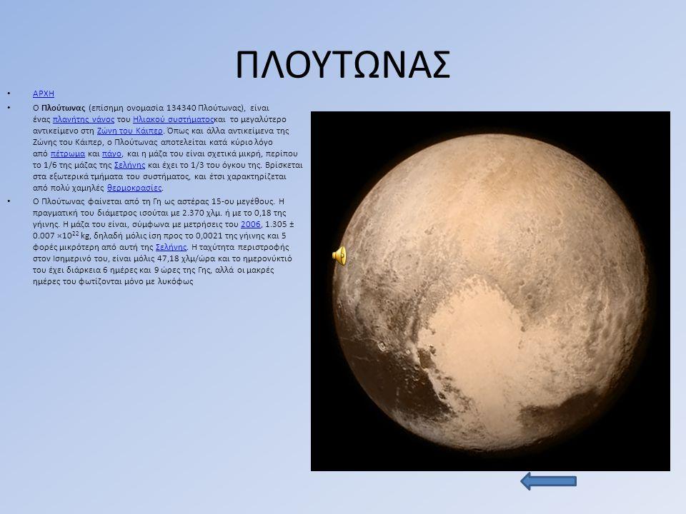 ΠΛΟΥΤΩΝΑΣ ΑΡΧΗ Ο Πλούτωνας (επίσημη ονομασία 134340 Πλούτωνας), είναι ένας πλανήτης νάνος του Ηλιακού συστήματοςκαι το μεγαλύτερο αντικείμενο στη Ζώνη του Κάιπερ.