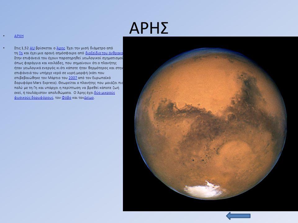 ΑΡΗΣ ΑΡΧΗ Στις 1,52 AU βρίσκεται ο Άρης.